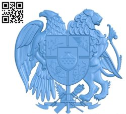 Coat of arms of Armenia file STL for Artcam and Aspire free vector art 3d model download for CNC