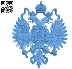 Coat of arms of the Russian Empire file STL for Artcam and Aspire free vector art 3d model download for CNC