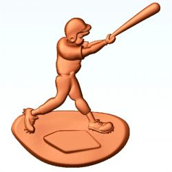 Baseball player file 3dClip free vector art 3d model download for CNC