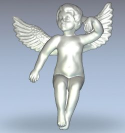 Angel sitting wood carving file RLF for Artcam 9 and Aspire free vector art 3d model download for CNC
