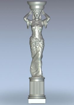 Caryatid with vase wood carving file STL for Artcam 9 and Aspire free vector art 3d model download for CNC