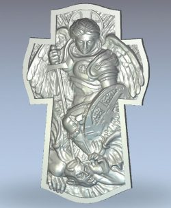 Cross with the Archangel wood carving file stl for Artcam and Aspire jdpaint free vector art 3d model download for CNC