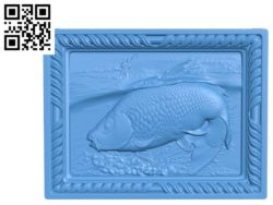 Crucian in a picture fish Wood carving file STL for Artcam and Aspire free vector art 3d model download for CNC