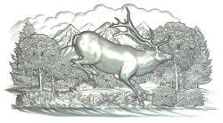 Deer file RLF for Artcam 9 and Aspire free vector art 3d model download for CNC wood carving
