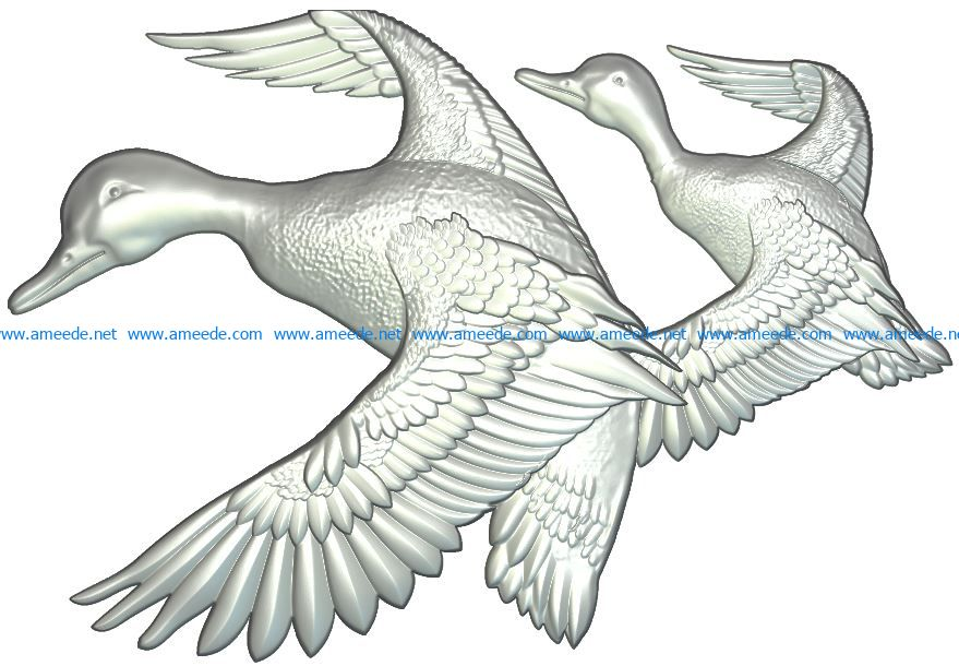 Ducks file RLF for Artcam 9 and Aspire free vector art 3d model download for CNC wood carving