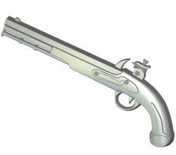 Flintlock Pistol Gun wood carving file RLF for Artcam 9 and Aspire free vector art 3d model download for CNC