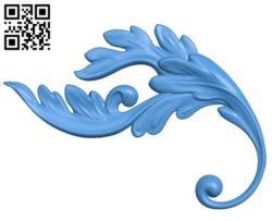 Floral element leaf of decor A000768 wood carving file stl for Artcam and Aspire free art 3d model download for CNC