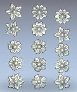 Flower set pattern wood carving file stl for Artcam and Aspire jdpaint free vector art 3d model download for CNC