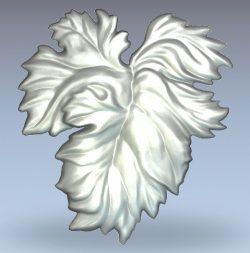 Grape leaf wood carving file stl for Artcam and Aspire jdpaint free vector art 3d model download for CNC