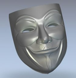 Guy Fawkes Mask wood carving file stl for Artcam and Aspire jdpaint free vector art 3d model download for CNC