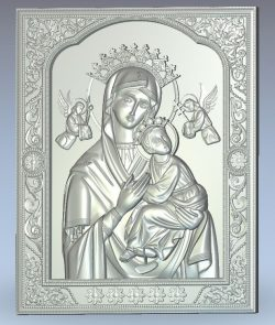 Holy Icon of the Mother of God wood carving file stl for Artcam and Aspire jdpaint free vector art 3d model download for CNC