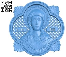 Holy Martyr Irina Wood carving file STL for Artcam and Aspire free vector art 3d model download for CNC