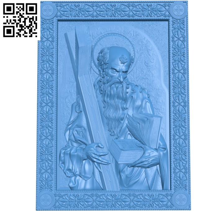 Icon Apostle Andrew picture A000787 wood carving file stl for Artcam and Aspire free art 3d model download for CNC