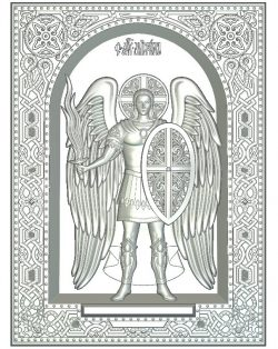 Icon Archangel Michael file RLF for Artcam 9 and Aspire free vector art 3d model download for CNC wood carving
