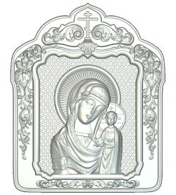 Icon of Our Lady of Kazan file RLF for Artcam 9 and Aspire free vector art 3d model download for wood carving CNC
