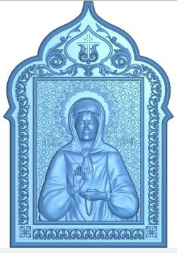Icon of St. Matron of Moscow wood carving file RLF for Artcam 9 and Aspire free vector art 3d model download for CNC