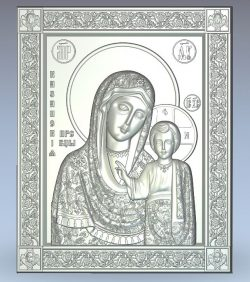 Icon of the Kazan Mother of God wood carving file stl for Artcam and Aspire jdpaint free vector art 3d model download for CNC