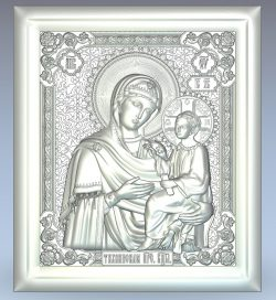Icon of the Mother of God Tikhvin wood carving file stl for Artcam and Aspire jdpaint free vector art 3d model download for CNC