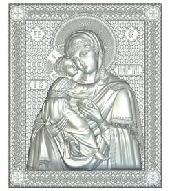 Icon of the Mother of God of Vladimir file RLF for Artcam 9 and Aspire free vector art 3d model download for CNC wood carving