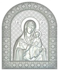 Icon of the Theotokos Fadeless color file RLF for Artcam 9 and Aspire free vector art 3d model download for CNC wood carving