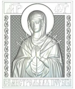Icon of the Virgin Semistrelnaya wood carving file RLF for Artcam 9 and Aspire free vector art 3d model download for CNC