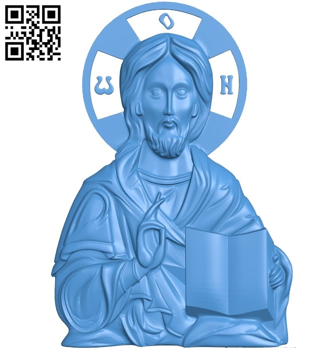 Jesus without salary icon A000786 wood carving file stl for Artcam and Aspire free art 3d model download for CNC