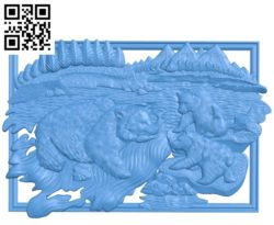 Kamchatka bears A000785 wood carving file stl for Artcam and Aspire free art 3d model download for CNC