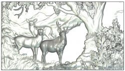 Mural Deer wood carving file RLF for Artcam 9 and Aspire free vector art 3d model download for CNC