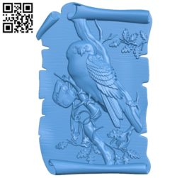 Mural Owl on an oak branch A000774 wood carving file stl for Artcam and Aspire free art 3d model download for CNC