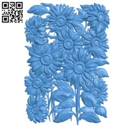Mural Sunflowers A000767 wood carving file stl for Artcam and Aspire free art 3d model download for CNC