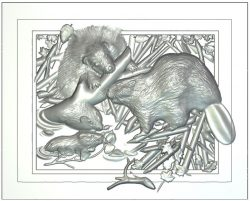 Mural beavers wood carving file RLF for Artcam 9 and Aspire free vector art 3d model download for CNC