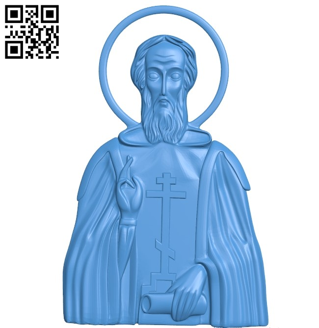 No salary icon Sergius of Radonezh A000775 wood carving file stl for Artcam and Aspire free art 3d model download for CNC