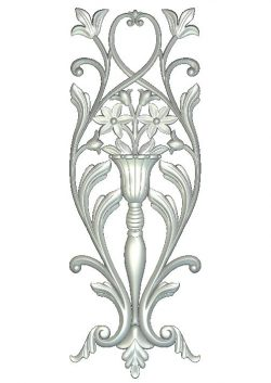 Ornament with flowers in a tall vase file RLF for Artcam 9 and Aspire free vector art 3d model download for wood carving CNC