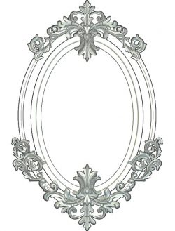Oval Mirror file RLF for Artcam 9 and Aspire free vector art 3d model download for CNC wood carving