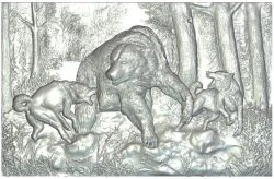 Panel Bear Hunt wood carving file RLF for Artcam 9 and Aspire free vector art 3d model download for CNC