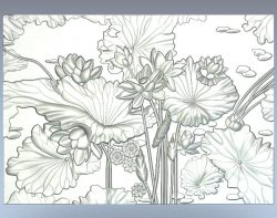 Panel lotuses file RLF for Artcam 9 and Aspire free vector art 3d model download for CNC wood carving