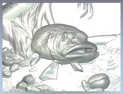 Pike fish file RLF for Artcam pro and Aspire free vector art 3d model download for CNC wood carving