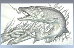Pike fish file RLF for Artcam 9 and Aspire free vector art 3d model download for CNC wood carving