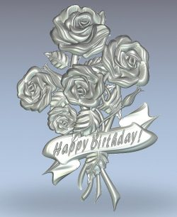 Roses Happy Birthday wood carving file stl for Artcam and Aspire jdpaint free vector art 3d model download for CNC