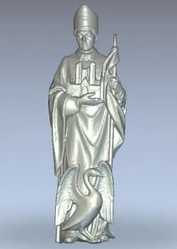 St. Hugh wood carving file stl for Artcam and Aspire jdpaint free vector art 3d model download for CNC