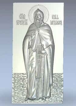 St. Ilya of Muromets growth icon wood carving file stl for Artcam and Aspire jdpaint free vector art 3d model download for CNC