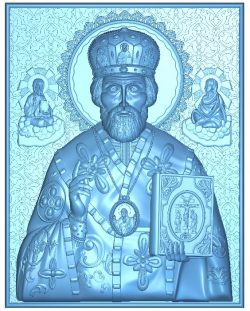 St. Nikolay wood carving file RLF for Artcam 9 and Aspire free vector art 3d model download for CNC