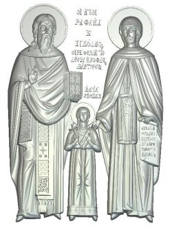 St. martyrs Raphael, Nikolai and Irina wood carving file RLF for Artcam 9 and Aspire free vector art 3d model download for CNC