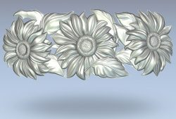 Sunflower wire wood carving file stl for Artcam and Aspire jdpaint free vector art 3d model download for CNC