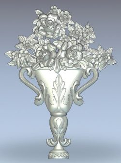 Vase with roses wood carving file stl for Artcam and Aspire jdpaint free vector art 3d model download for CNC