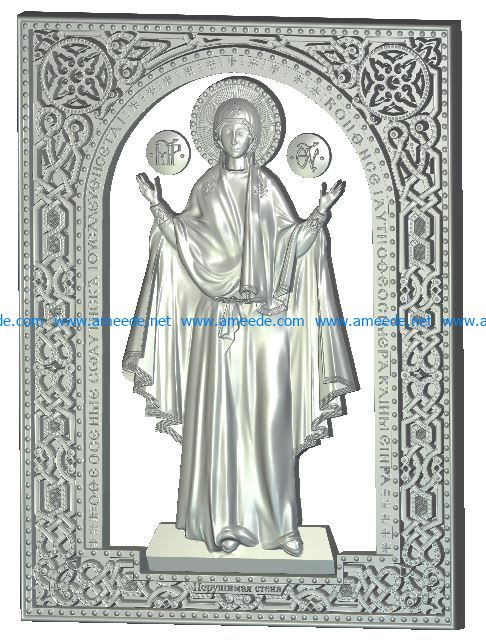 Virgin icon Unbreakable wall wood carving file RLF for Artcam 9 and Aspire free vector art 3d model download for CNC