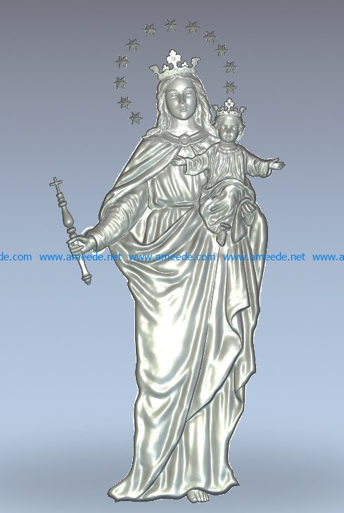 Virgin with baby wood carving file stl for Artcam and Aspire jdpaint free vector art 3d model download for CNC