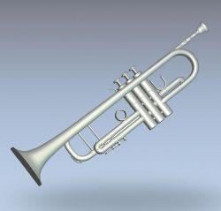 Wind instrument trumpet wood carving file stl for Artcam and Aspire jdpaint free vector art 3d model download for CNC