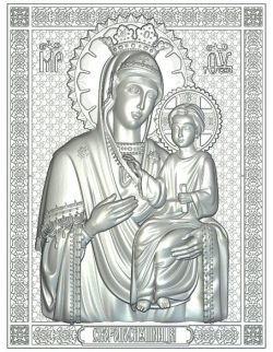 icon of the Mother of God the Naughty Wood carving file RLF for Artcam 9 and Aspire free vector art 3d model download for CNC