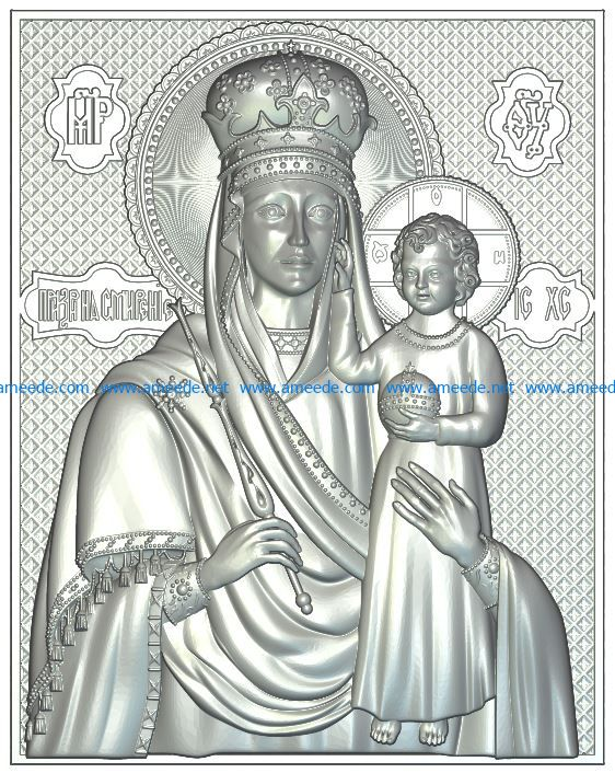 icon of the Virgin without salary Prize for humility file RLF for Artcam 9 and Aspire free vector art 3d model download for CNC wood carving